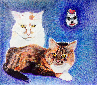 """Leo, Alex and Beemer Prismacolor and Sharpie mixed media 14"""" x 17"""" Private commission, San Ramon, CA"""