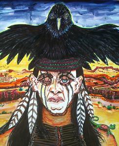 Man Speak With Bird on Head Watercolor, mixed media