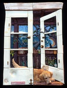 "Cauli's World (Kind of after Wyeth) Glazed stoneware 18"" x 13"" x 4"" Private collection, Santa Barbara, CA"