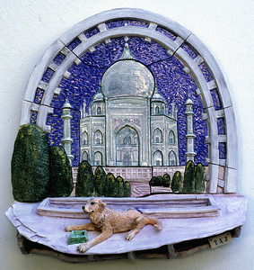 "Taj Glazed stoneware wall relief 20"" x 20"" x 6"" Private collection, Santa Barbara, CA"