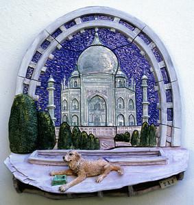 """Taj Glazed stoneware wall relief 20"""" x 20"""" x 6"""" Private collection, Santa Barbara, CA"""