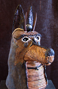 "Anubis, the Egyptian God of Justice #7 Glazed ceramic, mixed media 24"" x 22"" x 14"" Available"