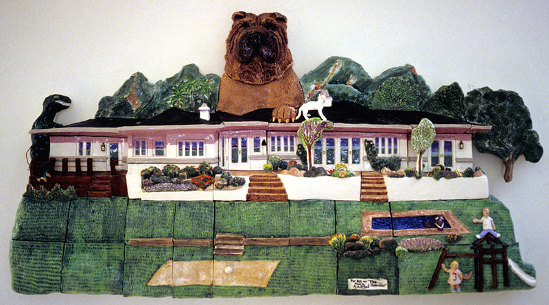 """The Overseer Glazed stoneware wall relief 18"""" x 36"""" x 5"""" Private collection, Santa Barbara, CA"""