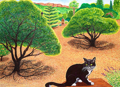 "Felix and the Pink Moment Watercolor, mixed 36"" x 50"" Commissioned by Betsy Watson, Ojai, CA"