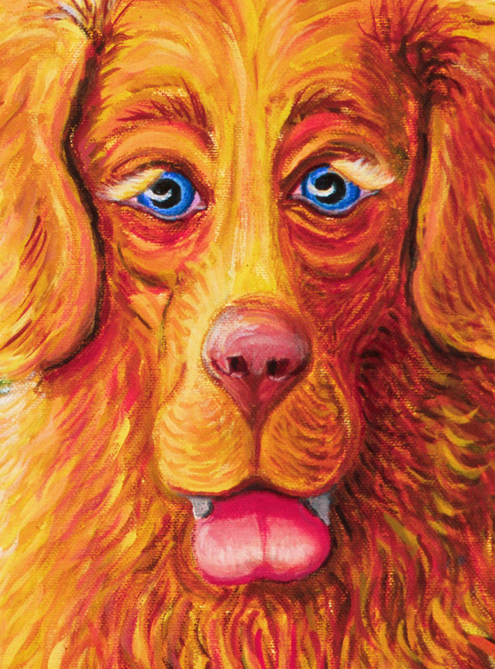 """Garbo  Detail from Vince Got a Biscuit? Oil on canvas 24"""" x 18"""" Available"""