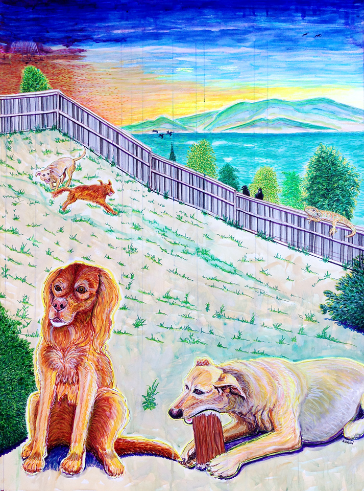 """Ring of Joy Darby, Kingsley and Enzo Watercolor, mixed media 48"""" x 36"""" Commissioned, Private collection, Pinole, CA"""