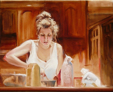 Heather Making Christmas Cookies Oil on Canvas 16X20 Winner Aldro Hibbard Memorial Award, North Shore Art Assoc., Gloucester, MA  Heather is making Christmas Cookies in Nana's Kitchen on the morning of christmas eve; she is pregnant with Lukas and radiating.