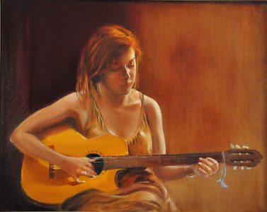 Alice and her Guitar' Oil on canvas 16X20 one of my favorit portraits.