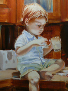 In Nana's kitchen. oil on Canvas 24X18 This is my grandson Lukas at two.