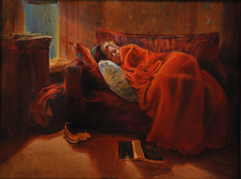 Evening Nap Oil on Canvas 18X24 Winner, 1st Prize, Seeing Red, Art League of New Britain. New Britain, CT  This was painted in PLeasant St Inn. after a long trip. It was getting dark, Donna put her book down, pulled the blanket over and closed her eyes. it wasn't long before she fell asleep. Good opportunity to sketch her down.