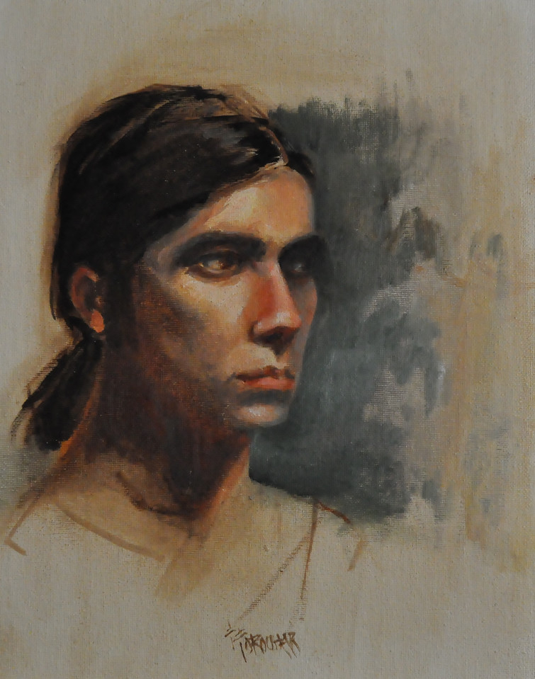 Portait of a young man II Oil on canvas board 12X9  An art student modeling.