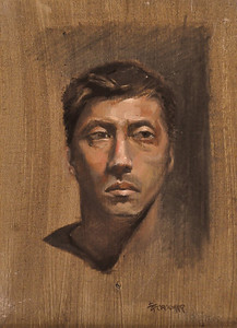 Portrait of a young man Oil on canvas board 11X14 He was a model, an art student I believe. I like the design.