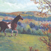 Scout in Autumn<br /> <br /> This pastel rendering is of a paint horse named Scout.  His owner lives near Clarksburg, Pennsylvania. Scout enjoyed racing across the rolling countryside and is seen here at the crest of a hill in late Autumn . <br /> <br /> The painting was done from reference photos supplied by Scout's owner.<br /> <br /> Medium:  Pastel on Paper