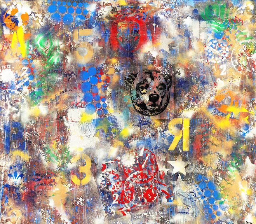 Lone Star Bear - 50x48 - mixed media on canvas. 2015