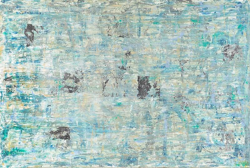 Illyria - 60x40 - acrylic, precious metal leafing - silver, mixed media on canvas.