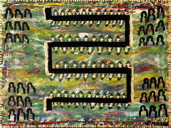 Road to Elysion - December 2009 - 30x40 - mixed media on canvas.