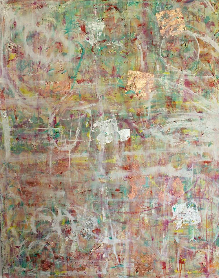 60x60 - oil, acrylic, precious metal leading, sand and varnish on canvas.