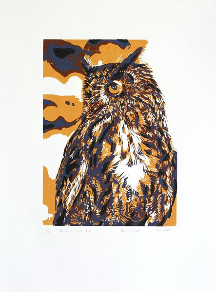 "Eurasian Eagle Owl 5-color Reduction Print<br /> <br /> Speedball linoleum block material hand carved between each color.  Speedball inks were used and applied to Arches ""88"" paper using a 2 pin registration system and an etching press"