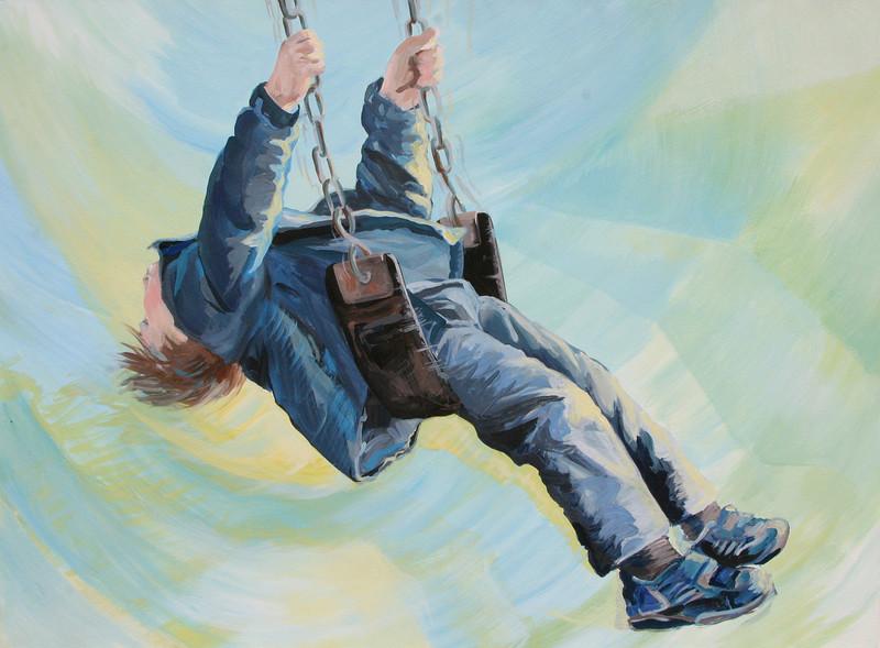 "Aaron on the Swing, 20"" x 30"" acrylic on paper, 2008"