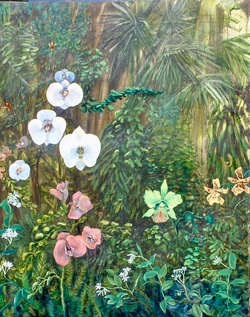 """©John Rachell Title: Orchid Delight Image Size: 24"""" x 30"""" Dated: Not dated Medium & Support: Oil on cotton canvas Signed: LR Signature Prints available only."""