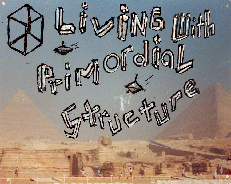 """Living with Primordial Structure. Ballpoint pen on color print, 3.5"""" x 4.5"""", 1984."""