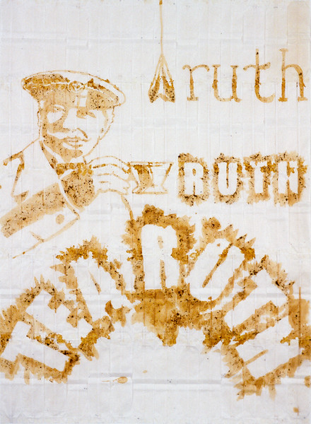"Tea-ruth. Teabags and tea, 18"" x 24"", 2003."
