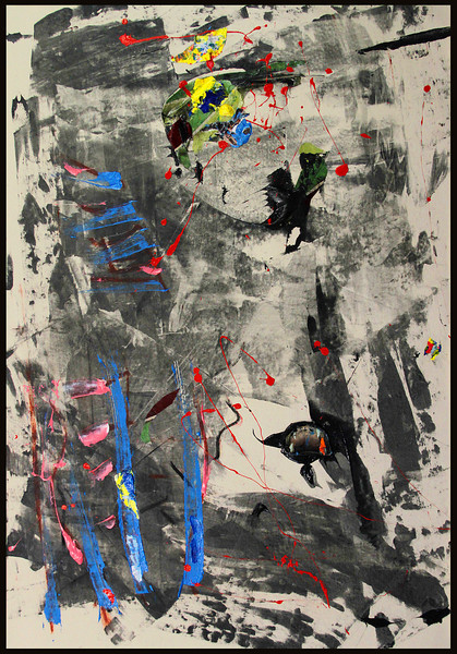Prometheus 3. Acrylic, charcoal, chalk & collage on canvas. 55 1/4 x 38 1/4""