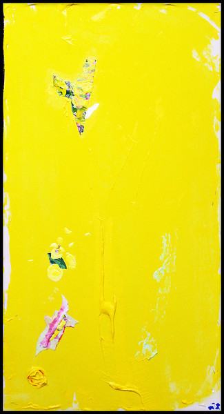"Prometheus 10. Acrylic & collage on canvas. 47 1/2"" x 23 3/4"""