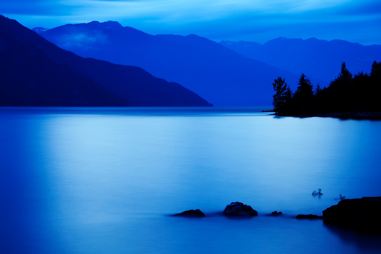 """Kootenay Blues""<br /> This photo was captured digitally with multiple long exposures overlapping each other.  By using this technique I was able to extend the exposure time tenfold over what was required.  <br /> This photo was made in the fall of 2009."
