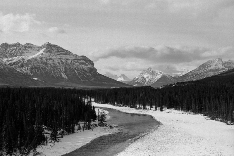 """The North Saskatchewan River""<br /> This photo was captured on medium format black and white film.  Using a special developer I was able to accentuate the grain of the film.<br /> Using very high resolution scanning, the grain is preserved in this digital print.<br /> This photo was made in the fall of 2001."