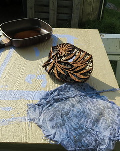 Tjap for batik and a small piece of raw silk