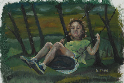 RJ oil painting, swinging in park.