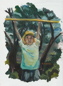 RJ oil painting, hanging in park