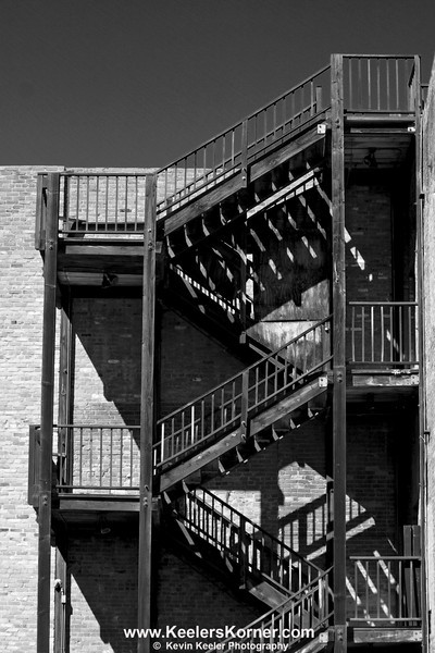Old exterior stairs in Old Sacramento