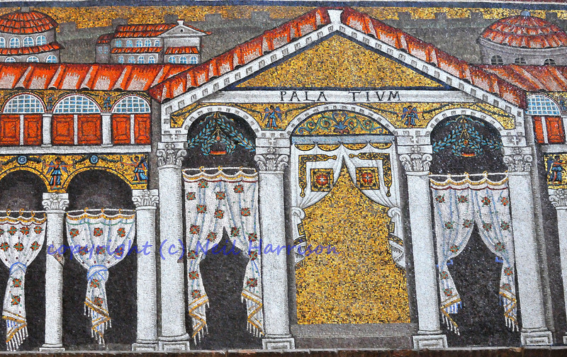 Byzantine UNESCO listed mosaic of a roman palace (Theodoric's palatium) from the church of St Apollinare Nuovo in Ravenna. With a ghostly hand or two  showing.