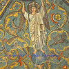 Ancient byzantine mosaic of an angel standing on the earth with arms raised, surrounded by leaping wild animals. From the UNESCO listed St Vitalis basilica in Ravenna, Italy