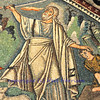 Ancient Byzantine mosaic depicting Abraham about to sacrifice Isaac. From the Unesco listed basilica of Saint Vitalis, in Ravenna, Italy