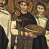 UNESCO listed byzantine mosaic of the Emperor Justinian flanked by archbishop Maximian. from the ancient basilica of St Vitalis, Ravenna, Italy