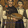 Ancient byzantine mosaic portrait of the Emperor Justinian in the UNESCO listed basilica of St Vitalis, Ravenna, Italy