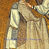 Byzantine UNESCO listed mosaic of Saint Vitalis preparing to receive a martyrs crown at his basilica in Ravenna, Italy