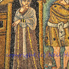 Ancient Byzantine mosaic of Sarah the wife of Abraham looking uncertain about mysterious visitors, from the Old Testament. From the UNESCO listed basilica of Saint Vitalis, in Ravenna, Italy