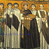 The Byzantine emperor Justinian together with the Ravenna archbishop Maximian, together with assembled clergy, militia and court officials . Famous UNESCO listed mosaic at the basilica of St Vitalis, in Ravenna, Italy