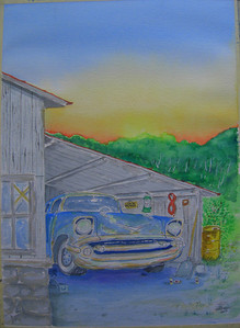 16 Chevy in the Shed, 10x14 watercolor, completed aug 11, 2013 CIMG8893