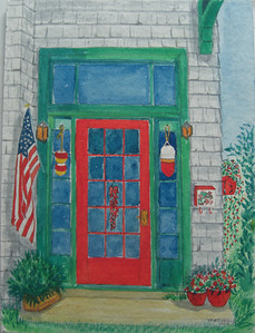 22 Red Door, 9x12 watercolor, completed aug 22, 2013CIMG8920