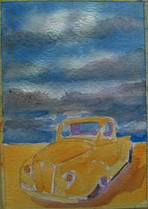 19 Desert Pick-up No 2, 4x6 watercolor, aug 14, 2013 CIMG8897