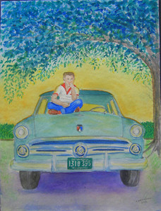 24 Tommy and '53 Ford, the farm, 1954, 9x12 watercolor, completed aug 30, 2013 CIMG9036