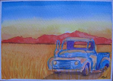 18 Wheatfield Pick-up, 4x6 watercolor, aug 14, 2013 CIMG8896
