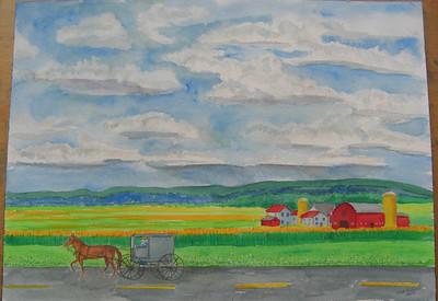 7 Amish Country, 10x14 watercolor, june 3, 2013  CIMG8745