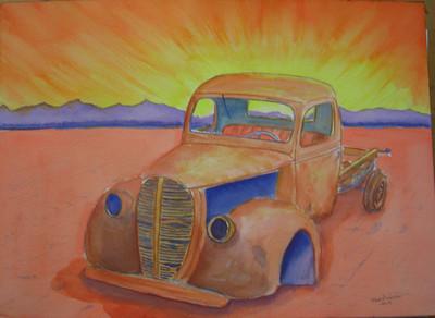 25 Desert Sunrise, 10x14 watercolor, completed sep 7, 2013 CIMG9033