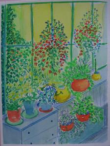 17 Back Porch Garden, 6x8 watercolor, aug 12, 2013 CIMG8895